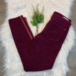 Pilcro Stet Corduroy Skinny Jeans Zipper Ankle 25